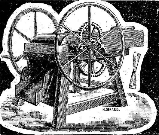 Un nouveau progrès dans l'outillage agricole : le broyeur de sarments de vigne et d'ajonc épineux. Image publiée à Toulouse le 5 avril 1888 dans : Journal des viticulteurs