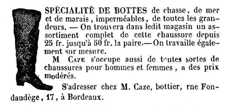Spécialité de bottes de chasse, de mer et de marais, imperméables, de toutes les grandeurs. Image publiée à Bordeaux le 24 décembre 1857 dans le journal : Le Gratis