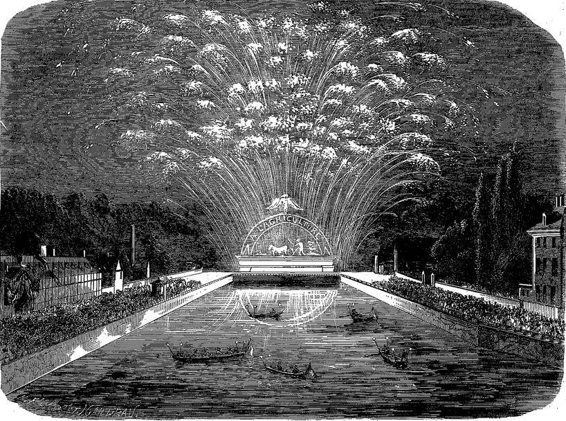 Feu d'artifice tiré à Troyes, le 12 mai 1860, sur le pont Jully [bassin de la Préfecture]. Image publiée à Troyes le 17 mai 1860 dans le journal : L'Exposition de Troyes illustrée