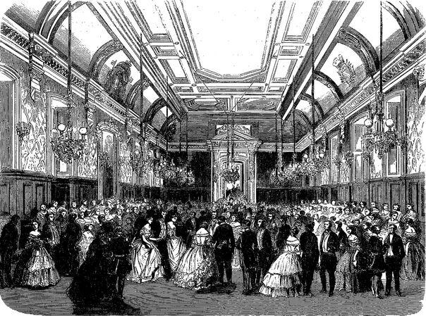 Bal offert, le 13 mai 1860, aux exposants du Concours agricole par le maire de Troyes. Image publiée à Troyes le 17 mai 1860 dans le journal : L'Exposition de Troyes illustrée
