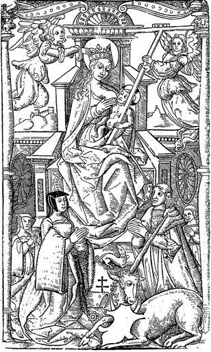 Glorification de la très sainte vierge Marie, gravure exécutée au dix-septième siècle. Image publiée à Troyes le 20 mai 1860 dans le journal : L'Exposition de Troyes illustrée