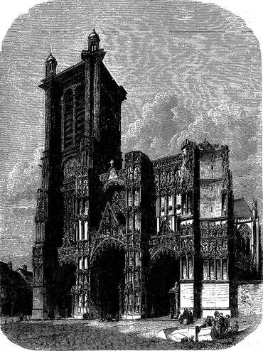 La cathédrale de Troyes, gravure d'après un dessin de Dieudonné Lancelot. Image publiée à Troyes le 20 mai 1860 dans le journal : L'Exposition de Troyes illustrée