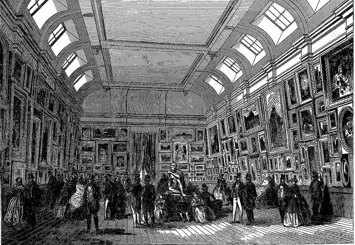 Vue intérieure du Musée de peintures de Troyes. Image publiée à Troyes le 20 mai 1860 dans le journal : L'Exposition de Troyes illustrée