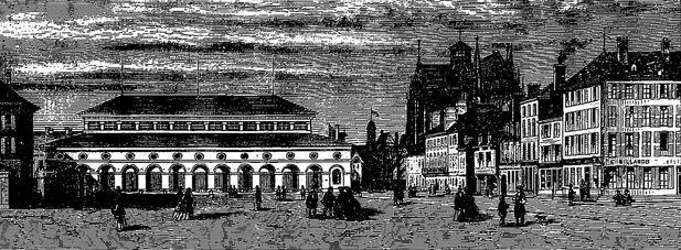 Troyes, place de la Libération : la Halle aux grains (1841-1895), cœur de l'Exposition de 1860. Image publiée à Troyes le 7 juin 1860 dans le journal : L'Exposition de Troyes illustrée