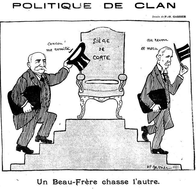 Politique de clan. Siège de Corte : un beau-frère chasse l'autre. Image publiée à Paris le 4 avril 1914 dans le journal : Avanti! : journal politique corse