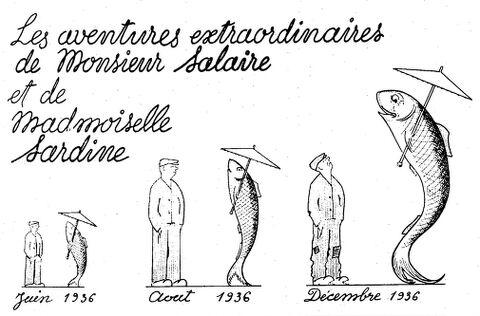 Les aventures extraordinaires de Monsieur Salaire et de Madmoiselle Sardine. Image publiée à Bordeaux le 17 décembre 1936 dans le journal : Le Libérateur du Sud-Ouest