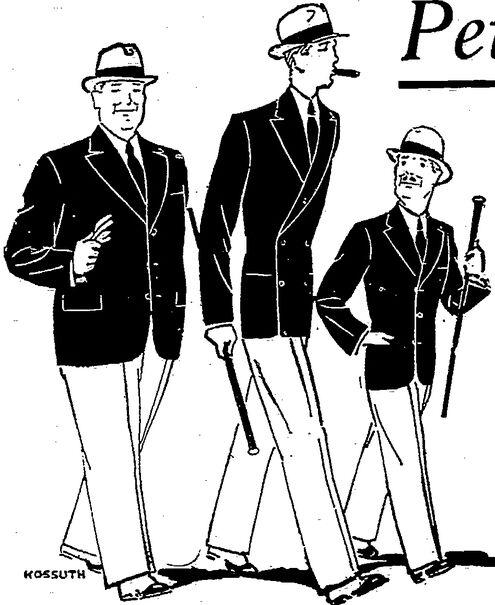 Publicité pour des costumes masculins confectionnés, À la Belle Jardinière, Charleville. Dessin de Kossuth publié à Charleville en octobre/novembre 1930 dans le journal : Les Ardennes françaises