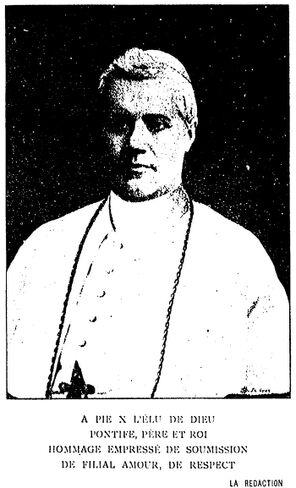 Le pape Pie X. Image publiée à Saint-Étienne en septembre 1903 dans le journal : Le Sentier : organe mensuel des œuvres de jeunesse et d'action catholique du Forez, du Velay et du Vivarais