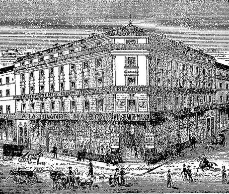 À la grande maison. Angers, 2 rue Voltaire. Bonneterie, chemiserie. Image publiée à Angers le 7 janvier 1893 dans le journal : Angers-artiste