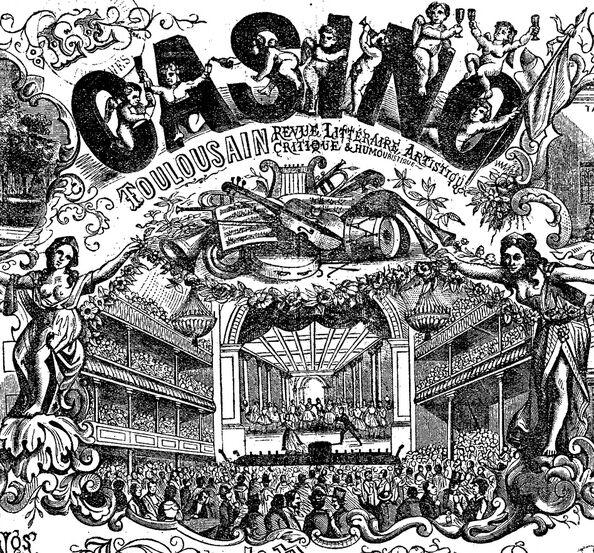 Le Casino toulousain, spectacles concerts, place Louis-Napoléon, fondateur Cabibel-Stoll, Grand hôtel Cabibel. Image publiée à Toulouse le 2 mars 1870 dans le journal : Le Casino toulousain
