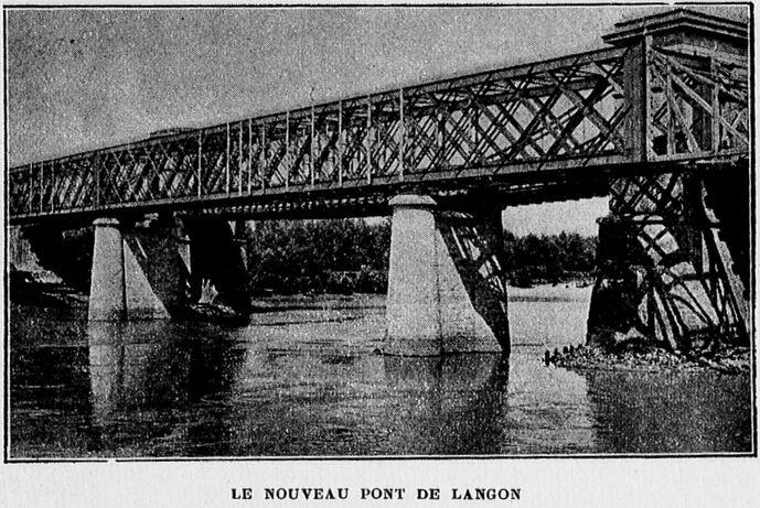 Le nouveau pont de Langon. Image publiée à Bordeaux en janvier 1906 dans le journal : Revue illustrée du Tout-Sud-Ouest