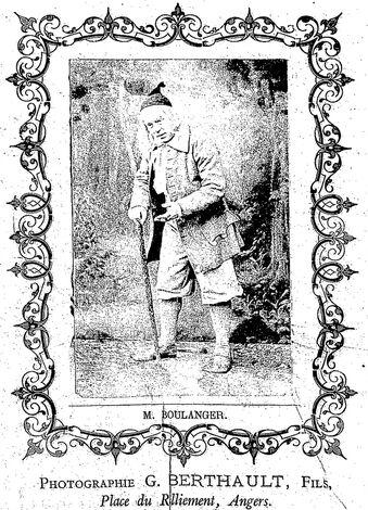 M. Boulanger, trial d'opéra-comique. Photographie G. Berthault, fils. Image publiée à Angers le 22 décembre 1877 dans le journal : L'Abeille