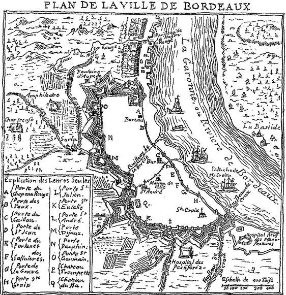 Plan de la ville de Bordeaux [en 1700, par Louis Bazin de Bezons, intendant de Bordeaux]. Image publiée à Bordeaux en octobre/novembre 1859 dans le journal : L'Agriculture comme source de richesse, comme garantie du repos social