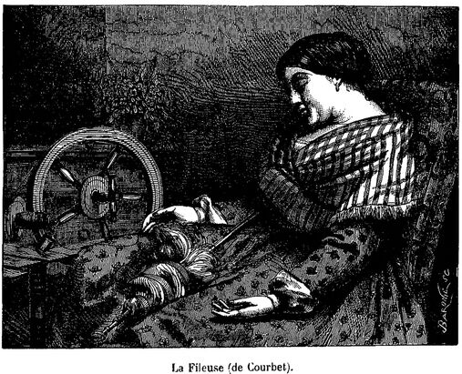 La Fileuse (de Courbet). Image publiée à Toulouse le 8 octobre 1865 dans : Journal illustré de l'Exposition toulousaine