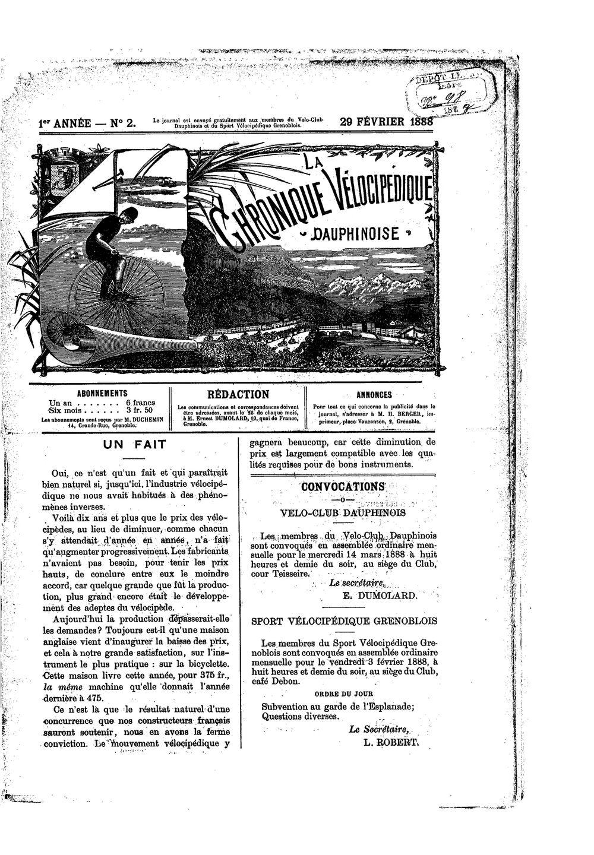 La Chronique vélocipédique dauphinoise / l'imprimeur-gérant b : H. Berger - 29 février 1888