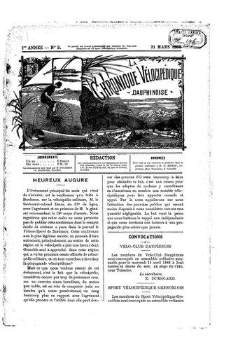 La Chronique vélocipédique dauphinoise / l'imprimeur-gérant b : H. Berger - 31 mars 1888