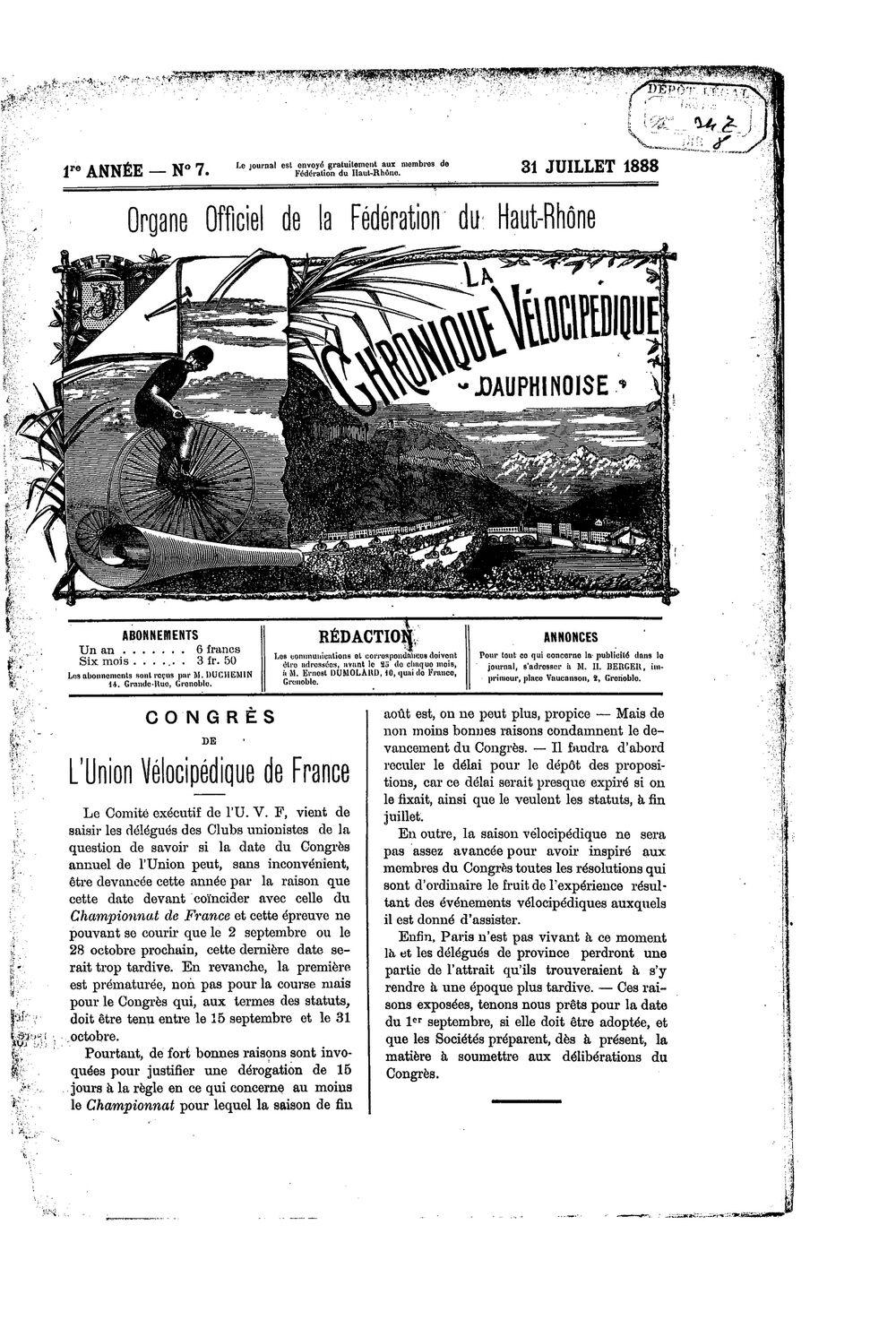 La Chronique vélocipédique dauphinoise / l'imprimeur-gérant b : H. Berger - 31 juillet 1888