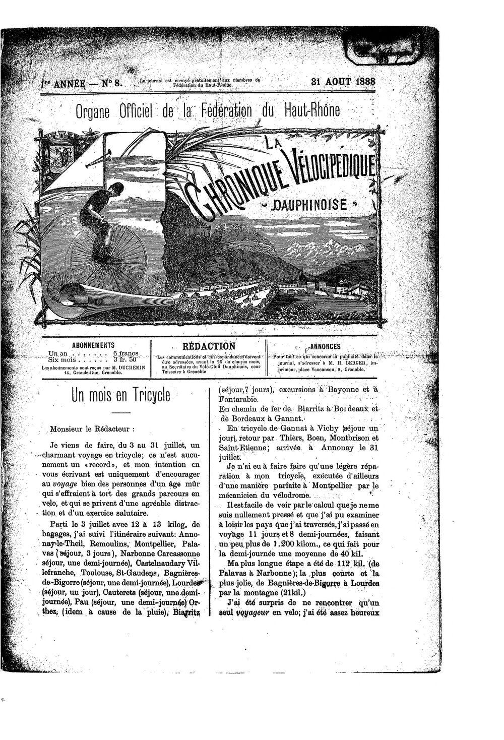 La Chronique vélocipédique dauphinoise / l'imprimeur-gérant b : H. Berger - 31 août 1888