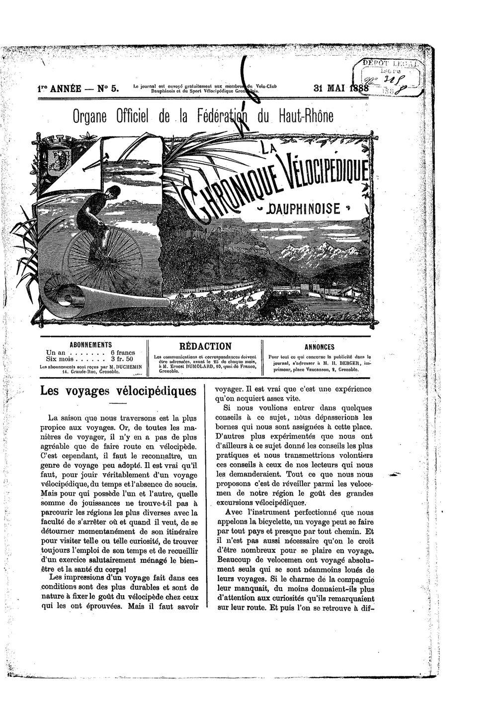 La Chronique vélocipédique dauphinoise / l'imprimeur-gérant b : H. Berger - 31 mai 1888