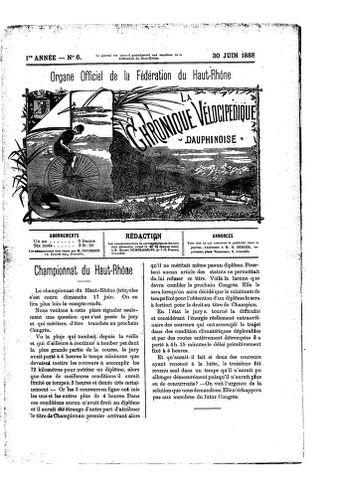 La Chronique vélocipédique dauphinoise / l'imprimeur-gérant b : H. Berger - 30 juin 1888