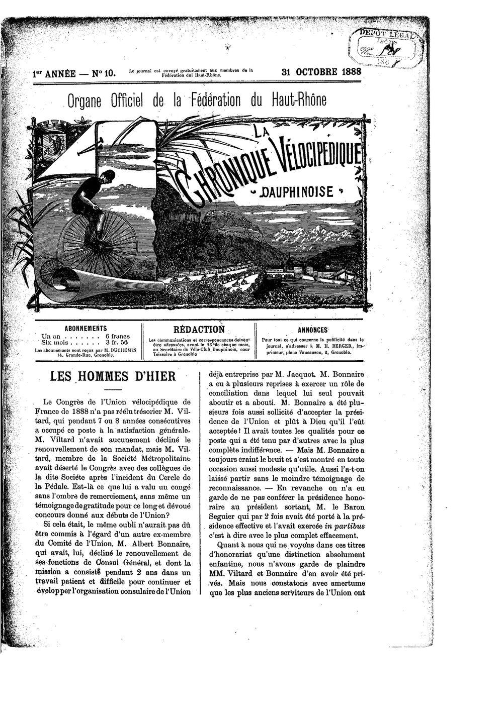 La Chronique vélocipédique dauphinoise / l'imprimeur-gérant b : H. Berger - 31 octobre 1888