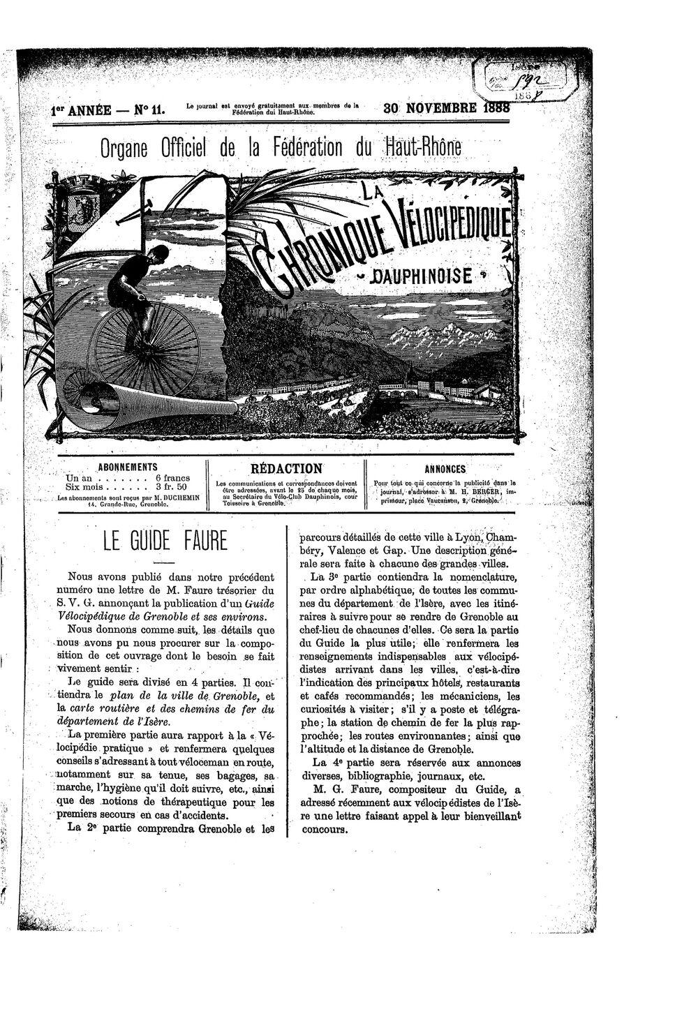 La Chronique vélocipédique dauphinoise / l'imprimeur-gérant b : H. Berger - 30 novembre 1888