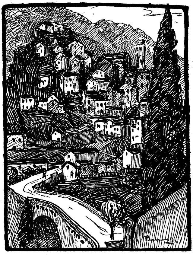 Corte (haute ville, église de l'Annonciation, pont vieux), par Jean-Baptiste Bassoul. Image publiée à Ajaccio en sept./oct. 1934 dans le journal : La Corse touristique