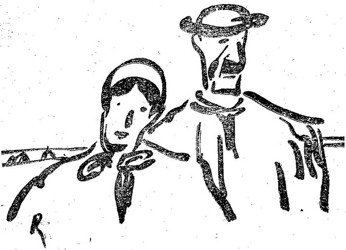 Paysans de l'Ouest. Dessin publié à Niort et Paris en novembre 1919 dans le journal : Le Pays d'Ouest