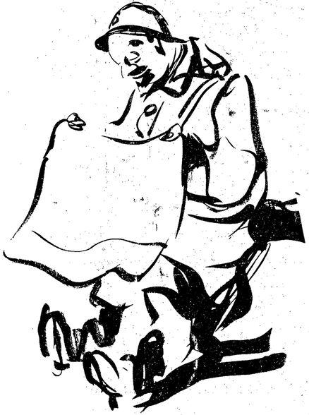 Un soldat français de la Première Guerre mondiale, lisant le journal. Dessin publié à Niort et Paris en novembre 1919 dans le journal : Le Pays d'Ouest