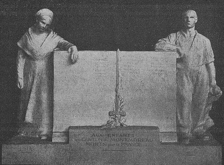 Maquette du monuments aux morts du canton de Montmoreau, Charente, par Émile Peyronnet. Image publiée à Niort et Paris en novembre 1919 dans le journal : Le Pays d'Ouest