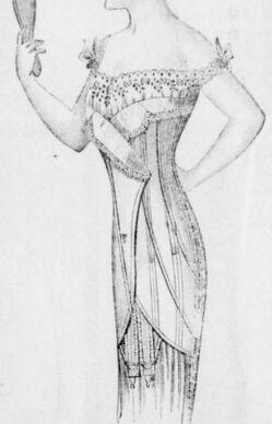 Boutique de corsets Petit Louvre, rue Sainte-Catherine 46, Bergerac. Image publiée à Bergerac le 25 juillet 1914 dans le journal : Le Progrès de Bergerac