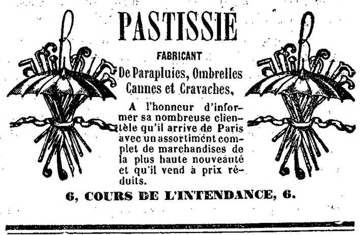 Pastissié, fabricant de parapluies, ombrelles, cannes et cravaches. Image publiée à Bordeaux le 18 juillet 1867 dans le journal : L'Office de publicité de la Gironde
