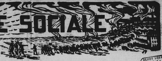 [Des ouvriers, sortant en file des usines enfumées, relèvent la tête en marchant vers l'Aube, jeune femme nue levant les bras dans un ciel pur]. Image publiée à Orléans le 6 septembre 1912 dans le journal : L'Aube sociale