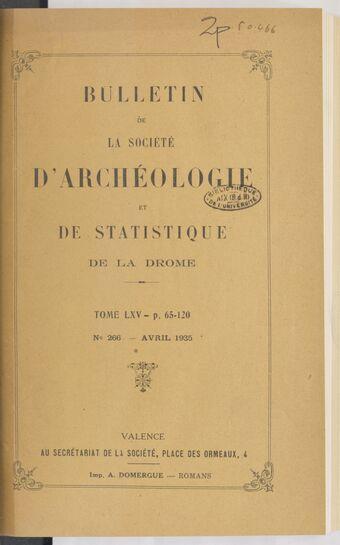 Bulletin de la Société d'archéologie et de statistique de la Drôme