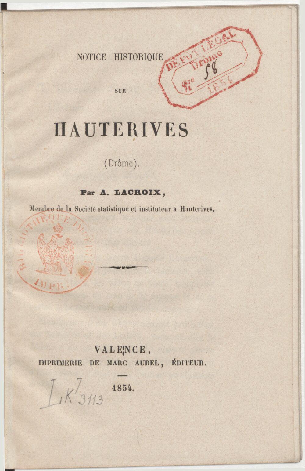 Notice historique sur Hauterives (Drôme) / par A. Lacroix,...