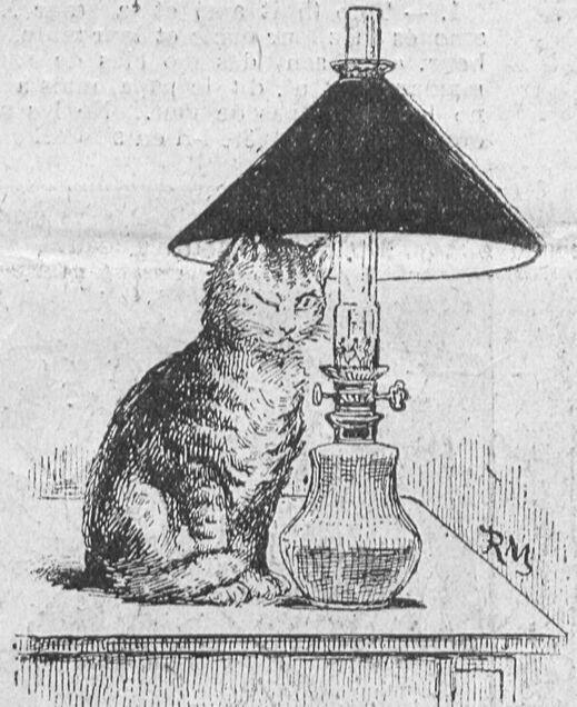 Un chat sybarite. Image publiée à Vernon le 29 avril 1905 dans le journal : Le Réveil de Vernon. Supplément illustré