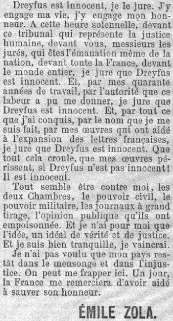 Article d'Émile Zola le 22 février 1898 dans le journal parisien : L'Aurore