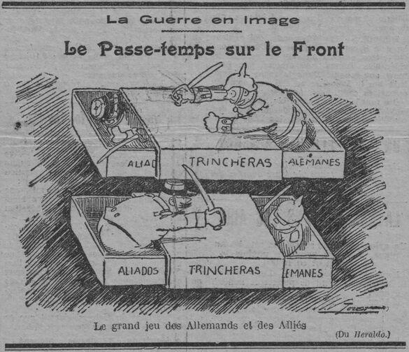 La guerre en image : le passe-temps sur le front. Le grand jeu des Allemands et des Alliés. Image publiée le 27 décembre 1914 dans le journal : La Lanterne