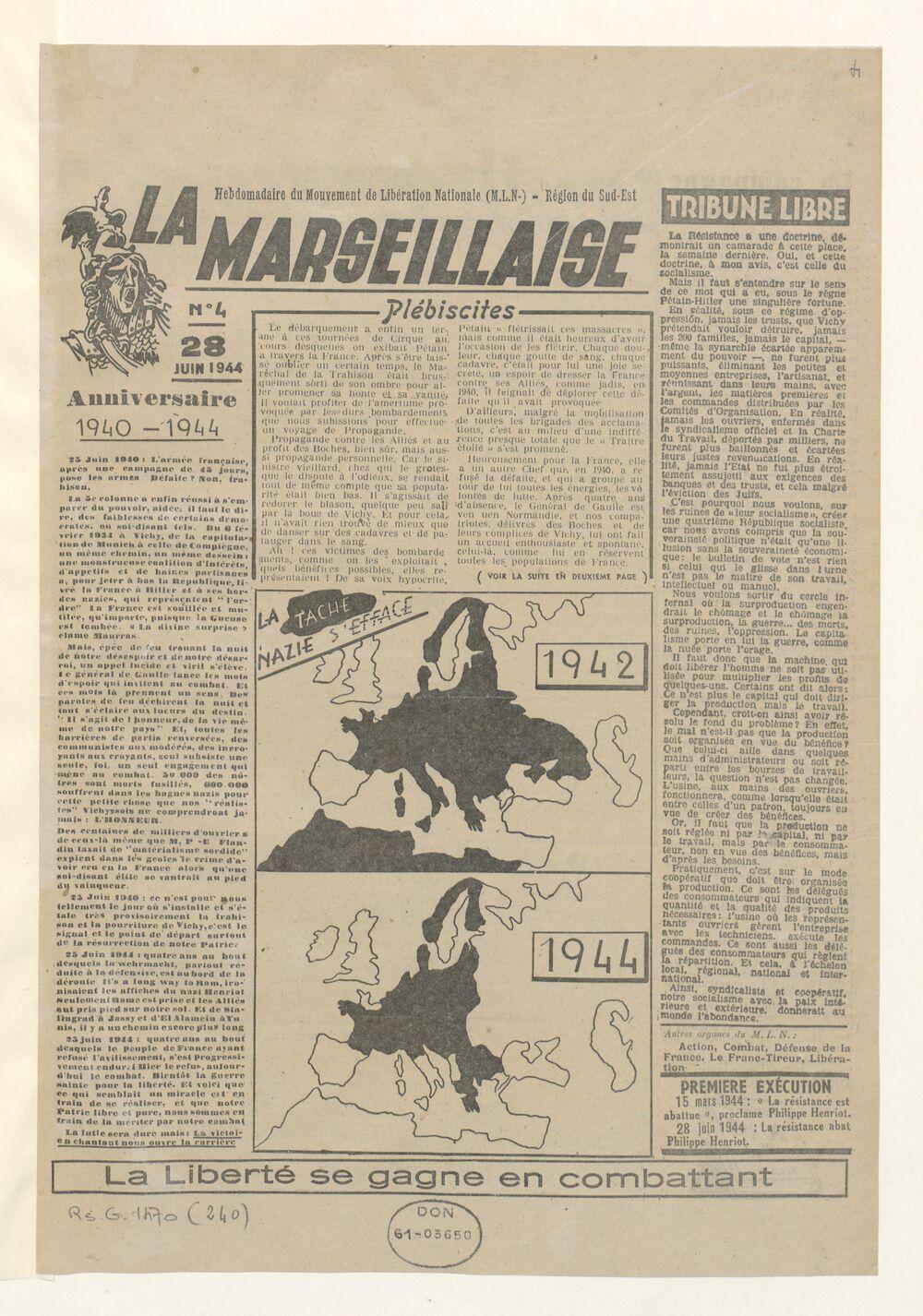 La Marseillaise : organe régional des Mouvements unis de résistance du Sud-Est