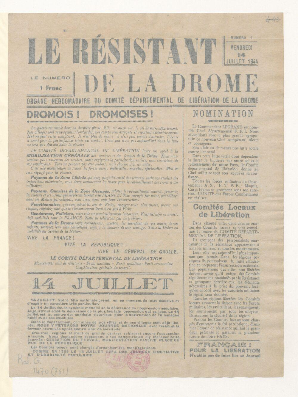 Le Résistant de la Drôme : organe hebdomadaire du Comité départemental de la libération de la Drôme