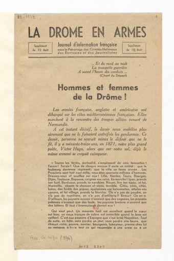 La Drôme en armes : journal d'information française