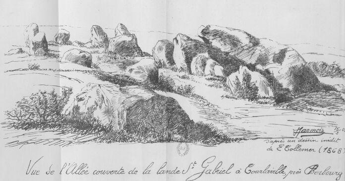 Vue de l'allée couverte de la lande Saint-Gabriel à Tourlaville, près Cherbourg. Image publiée à Cherbourg en 1905 dans le journal : Bulletin de la Société artistique et industrielle de Cherbourg