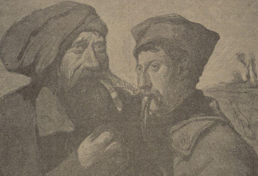 Poilus. Dessinés par Eugène Hanriot, brigadier. Image publiée dans le Secteur postal 48 [Marne] en juillet 1917 dans le journal : L'Écho des gourbis