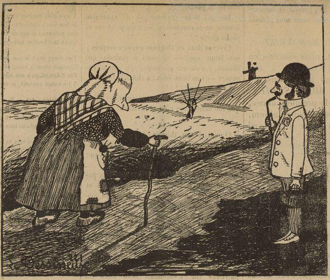 De quoué jh' m'othiupe ! Image publiée à Jonzac le 11 avril 1908 dans le journal : Mon subiet