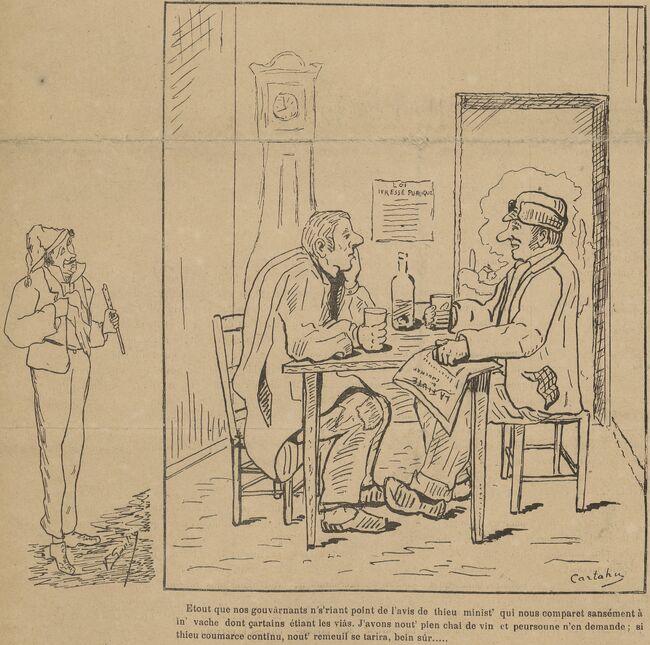 Le commerce dans les Charentes. Image publiée à Cognac le 12 avril 1902 dans le journal : La Fiute de Cougnat
