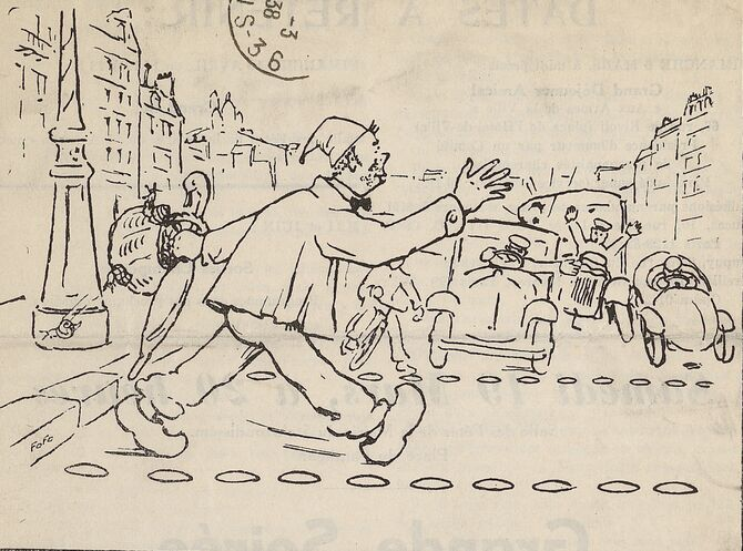 [Un Charentais en sabots, coiffé d'un bonnet, portant un parapluie et un panier de cagouilles (escargots), affronte le trafic automobile d'une rue de Paris]. Dessin publié à Paris le 1er mars 1938 dans le journal : Les Charentes à Paris