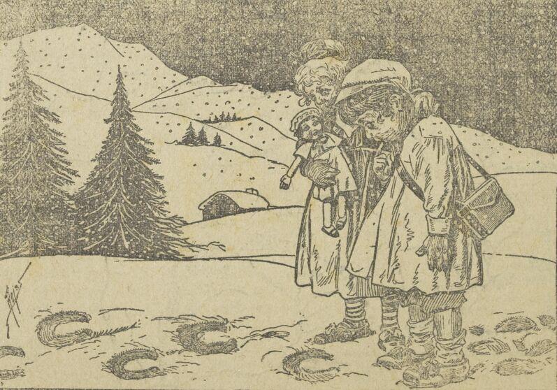 Les petits sans famille de Belgique (Les déportations d'ouvriers belges en Allemagne continuent). C'est par ici qu'est passé Guillaume, qui nous a volé nos papas. Image publiée à Blois en janvier 1917 dans le journal : L'Écho de la classe 22