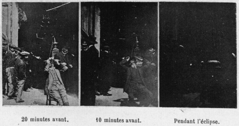 L'éclipse de soleil du 17 avril [1912]. 20 minutes avant. 10 minutes avant. Pendant l'éclipse. Image publiée à Angers en avril 1912 dans le journal : L'Anjou illustré
