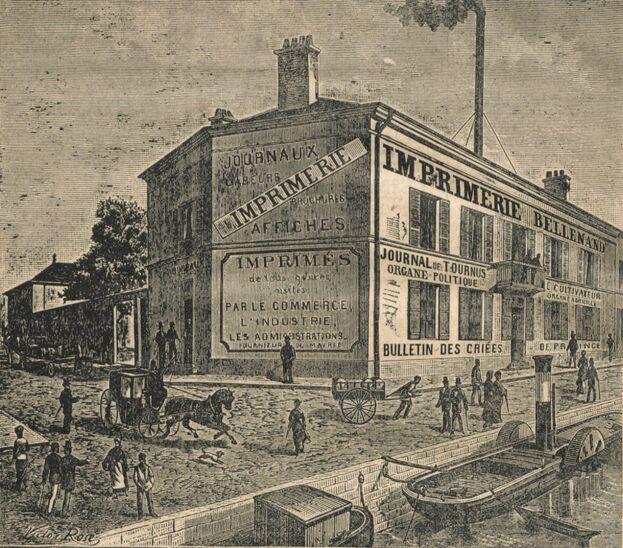 Imprimerie Bellenand, à Tournus. Image publiée au Creusot le 17 décembre 1882 dans le journal : Le Creusot
