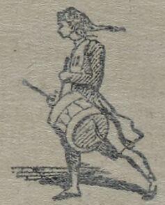Soldat battant le rappel au tambour d'ordonnance. Image publiée à Toulon le 5/6 novembre 1869 dans le journal : Le Rappel de la Provence
